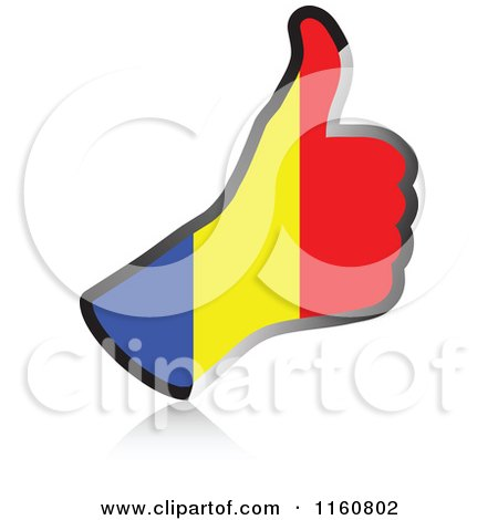 Clipart of a Flag of Romania Thumb up Hand - Royalty Free Vector Illustration by Andrei Marincas
