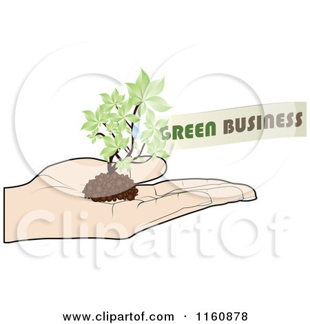 Clipart of a Hand Holding a Green Business Plant - Royalty Free Vector Illustration by Andrei Marincas