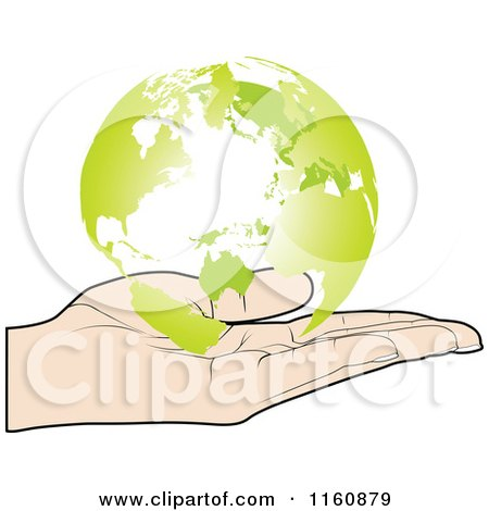 Clipart of a Hand Holding a Green Globe - Royalty Free Vector Illustration by Andrei Marincas