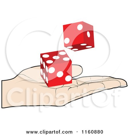 Clipart of a Hand Holding Red Dice - Royalty Free Vector Illustration by Andrei Marincas
