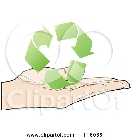 Clipart of a Hand Holding Green Recycle Arrows - Royalty Free Vector Illustration by Andrei Marincas