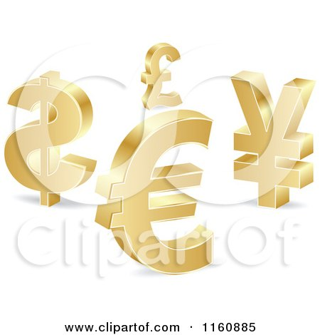 Clipart of 3d Gold Curency Sybmols - Royalty Free Vector Illustration by Andrei Marincas