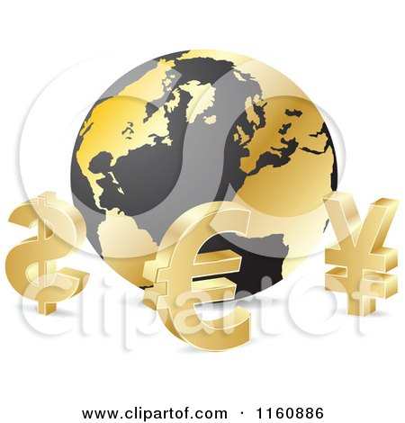 Clipart of 3d Gold Curency Sybmols Around a Globe - Royalty Free Vector Illustration by Andrei Marincas