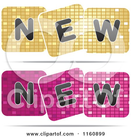 Clipart of Gold and Pink New Mosaic Designs - Royalty Free Vector Illustration by Andrei Marincas