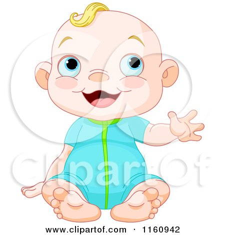 Cartoon of a Happy Blond Caucasian Girl Sitting and Waving - Royalty Free Vector Clipart by Pushkin