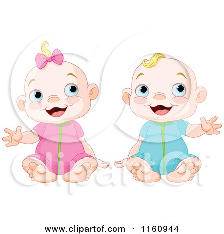 Cartoon of a Happy Blond Caucasian Boy and Girl Sitting and Waving - Royalty Free Vector Clipart by Pushkin