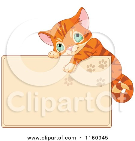 Cartoon of a Cute Ginger Cat Hanging on a Tan Sign with Paw Prints - Royalty Free Vector Clipart by Pushkin