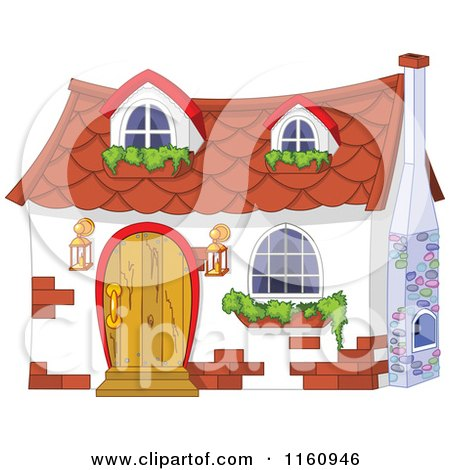 Cute White Cottage with Window Planters Posters, Art Prints
