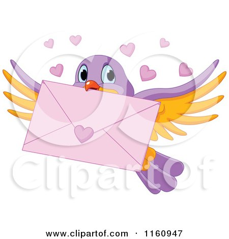 Cartoon of a Cute Bird Flying with a Love Letter and Valentine Hearts - Royalty Free Vector Clipart by Pushkin