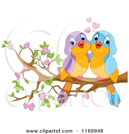 Pair of Floral Love Birds with a Heart Posters, Art Prints by Cherie ...