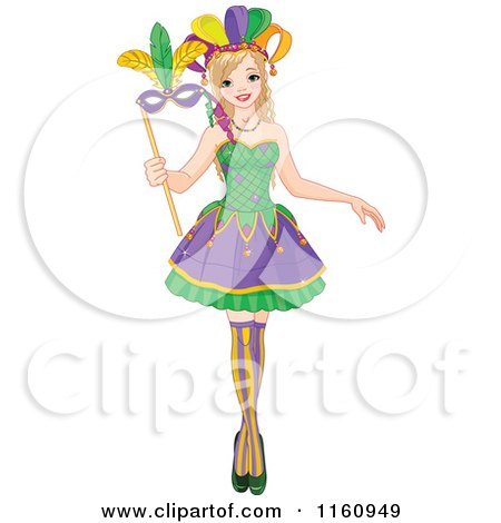 Cartoon of a Festive Mardi Gras Woman Holding a Mask - Royalty Free Vector Clipart by Pushkin