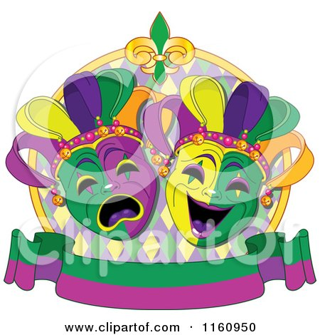 Cartoon of Drama Mardi Gras Theater Masks with a Banner - Royalty Free Vector Clipart by Pushkin