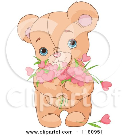 Cartoon of a Cute Teddy Bear Holding Valentine Flower Hearts - Royalty Free Vector Clipart by Pushkin