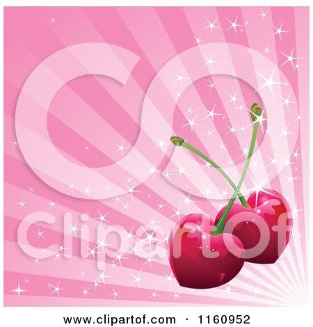 Clipart of a Background of Heart Cherries over Sparkly Pink Rays - Royalty Free Vector Illustration by Pushkin