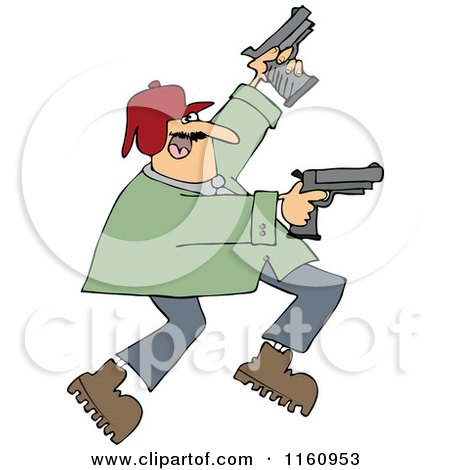 Cartoon of a Man Running and Shooting Two Pistols - Royalty Free Vector Clipart by djart