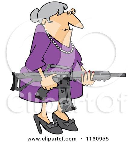 Cartoon of a Senior Caucasian Woman Holding an Assault Rifle - Royalty Free Vector Clipart by djart