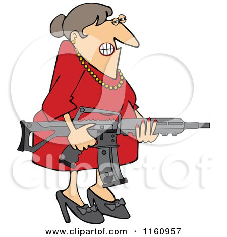 Cartoon of an Angry Brunette Caucasian Woman Holding an Assault Rifle - Royalty Free Vector Clipart by djart
