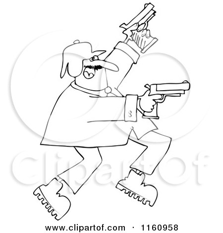 Cartoon of an Outlined Man Running and Shooting Two Pistols - Royalty Free Vector Clipart by djart