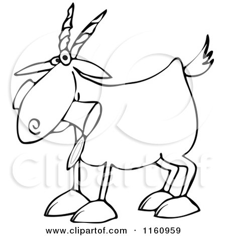 Cartoon of an Outlined Goat Eating a Can - Royalty Free Vector Clipart by djart