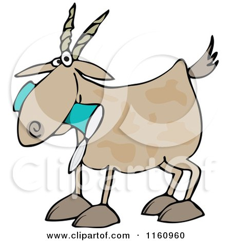 Cartoon of a Goat Eating a Can - Royalty Free Vector Clipart by djart