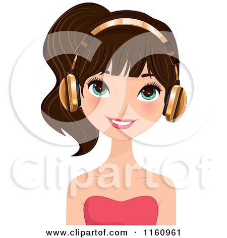 Clipart of a Pretty Brunette Woman Wearing Gold Headphones - Royalty Free Vector Illustration by Melisende Vector