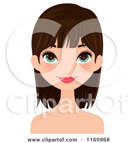Clipart of a Pretty Brunette Woman with Long Eye Lashes - Royalty Free Vector Illustration by Melisende Vector