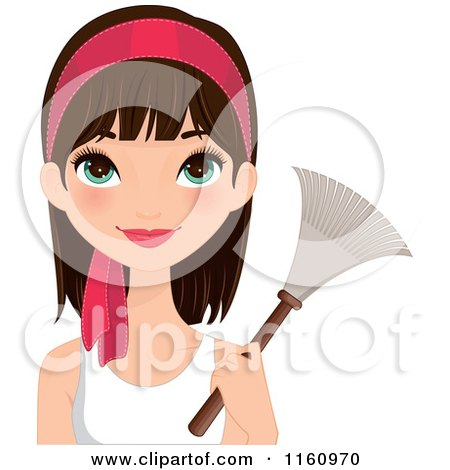 Clipart of a Pretty Brunette Woman with Green Eyes and a Pink Headband, Holding a Feather Duster - Royalty Free Vector Illustration by Melisende Vector