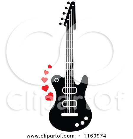 Cartoon of a Black and White Electric Guitar with Red Hearts - Royalty Free Vector Clipart by Zooco