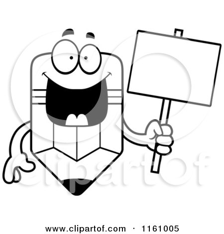 Cartoon of a Black And White Happy Pencil Mascot Holding a ...