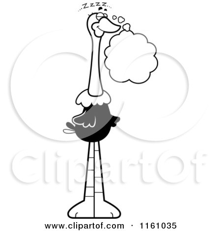 Cartoon of a Black And White Dreaming Ostrich Mascot - Royalty Free Vector Clipart by Cory Thoman