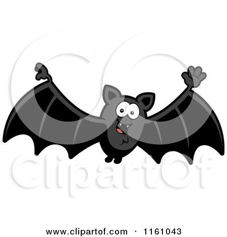 Cartoon of a Waving Vampire Bat - Royalty Free Vector Clipart by Cory Thoman