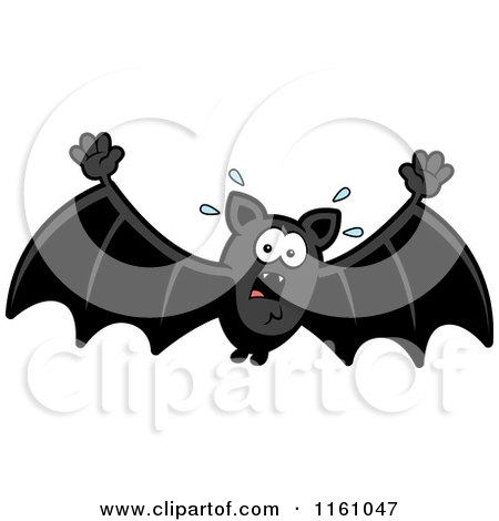 Cartoon of a Scared Vampire Bat - Royalty Free Vector Clipart by Cory Thoman