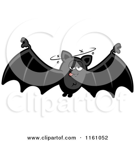 Cartoon of a Drunk Vampire Bat - Royalty Free Vector Clipart by Cory Thoman