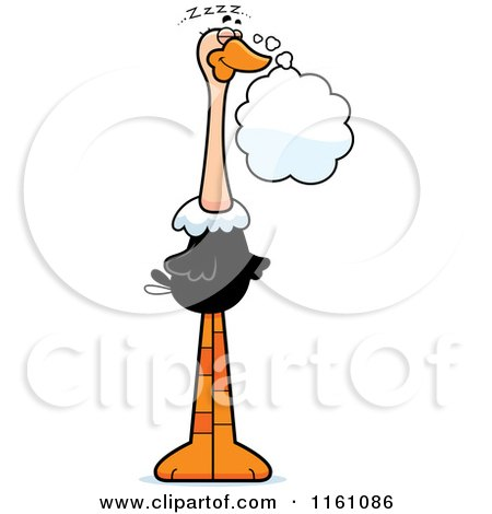 Cartoon of a Dreaming Ostrich Mascot - Royalty Free Vector Clipart by Cory Thoman