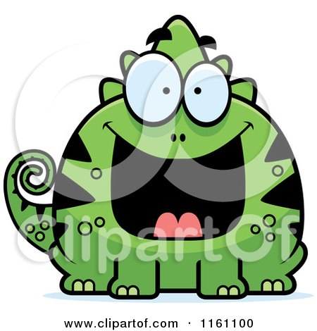 Cartoon of a Grinning Chameleon Lizard Mascot - Royalty Free Vector Clipart by Cory Thoman