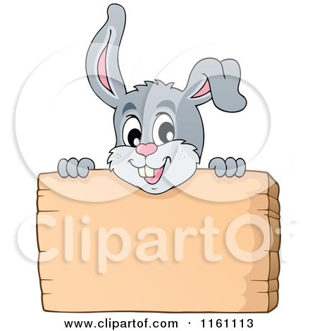 Cartoon of an Easter Bunny over a Sign - Royalty Free Vector Clipart by visekart