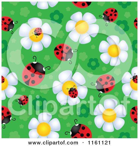 Cartoon of Seamless Ladybug and Daisy Flower Pattern 2 - Royalty Free Vector Clipart by visekart