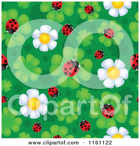 Cartoon of Seamless Ladybug and Daisy Flower Pattern - Royalty Free Vector Clipart by visekart