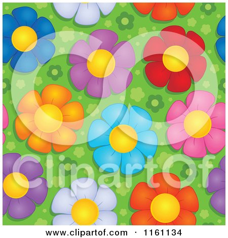 Cartoon of Seamless Colorful Daisy Flower Pattern - Royalty Free Vector Clipart by visekart