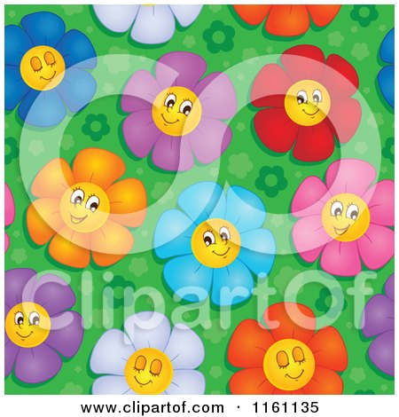 Cartoon of Seamless Colorful Daisy Flower Faces Pattern - Royalty Free Vector Clipart by visekart