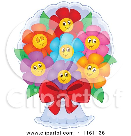 Cartoon Of Colorful Daisy Flowers In A Bouquet