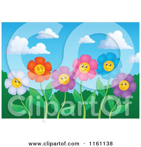 Cartoon of Colorful Daisy Flower Faces on Stems Against a Sky - Royalty Free Vector Clipart by visekart