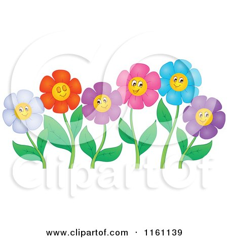 Cartoon of Colorful Daisy Flower Faces on Stems - Royalty Free Vector Clipart by visekart