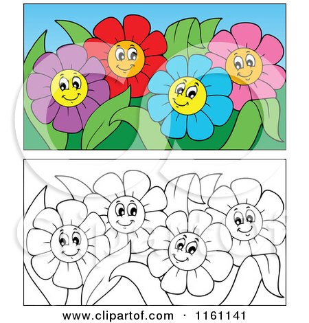 Cartoon of Outlined and Colorful Daisy Flowers - Royalty Free Vector Clipart by visekart