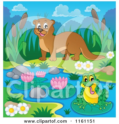 Cartoon of a Happy Otter Watching a Frog on a River - Royalty Free Vector Clipart by visekart