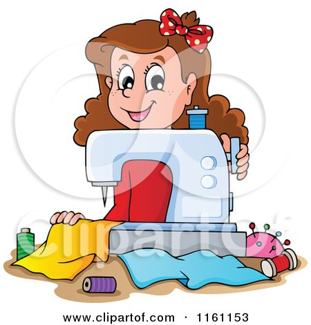 Cartoon of a Happy Girl Using a Sewing Machine - Royalty Free Vector Clipart by visekart