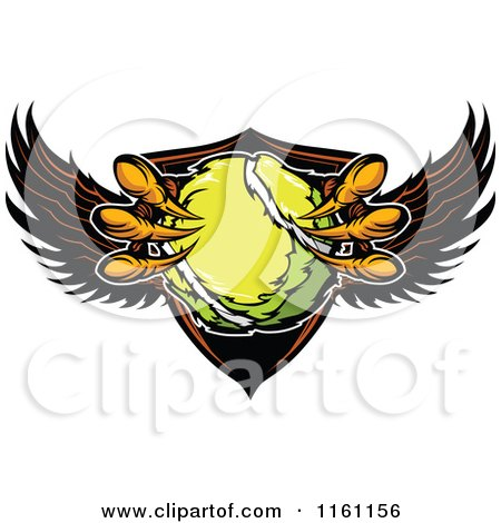 Cartoon of Eagle Talons Grabbing a Tennis Ball and a Winged Shield - Royalty Free Vector Clipart by Chromaco