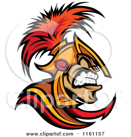 Cartoon of an Angry Spartan Warrior in Profile - Royalty Free Vector Clipart by Chromaco
