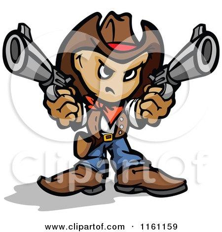 Tough Little Cowboy Holding Two Pistols Posters, Art Prints