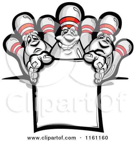 Cartoon of Bowling Pins over a Sign - Royalty Free Vector Clipart by Chromaco